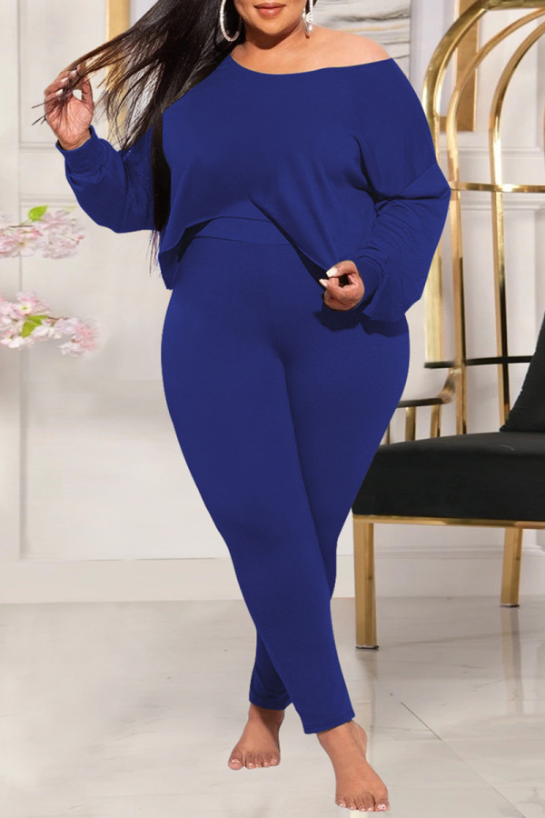 Blue Fashion Casual Solid Basic Oblique Collar Plus Size Two Pieces