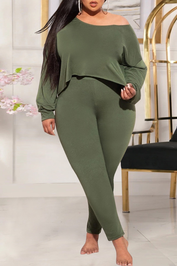 Green Fashion Casual Solid Basic Oblique Collar Plus Size Two Pieces