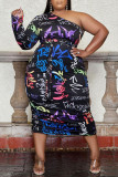 Black Fashion Sexy Print Backless Oblique Collar Long Sleeve Plus Size Dresses