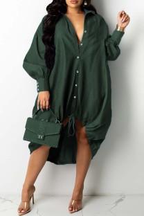 Green Fashion Casual Patchwork Basic Turndown Collar Long Sleeve Dresses