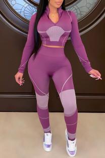 Purple Casual Sportswear Print Split Joint Zipper Collar Long Sleeve Two Pieces
