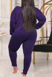 Purple Fashion Casual Solid Basic Oblique Collar Plus Size Two Pieces