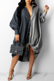 Brown Fashion Casual Patchwork Basic Turndown Collar Long Sleeve Dresses