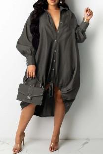 Dark Gray Fashion Casual Patchwork Basic Turndown Collar Long Sleeve Dresses
