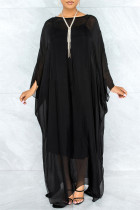 Black Fashion Casual Solid See-through O Neck Long Sleeve Two Pieces