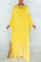Yellow Fashion Casual Solid See-through O Neck Long Sleeve Two Pieces