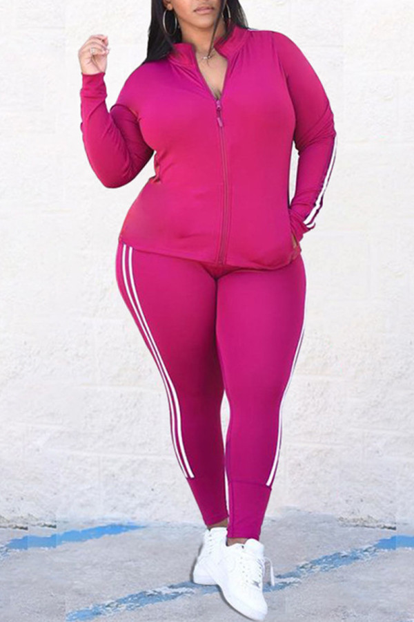 Rose Red Fashion Casual Striped Split Joint Zipper Collar Plus Size Two Pieces