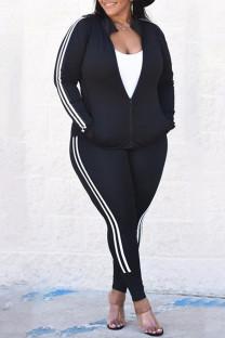 Black Fashion Casual Striped Split Joint Zipper Collar Plus Size Two Pieces