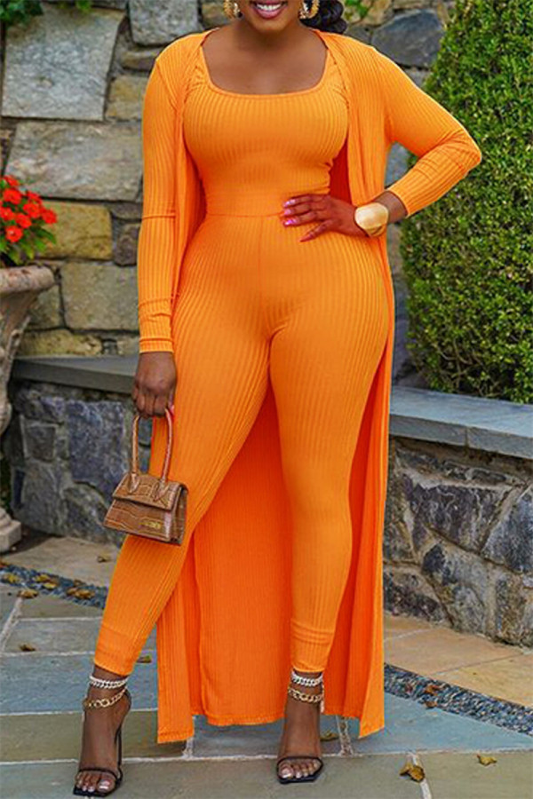 Orange Fashion Casual Solid Cardigan O Neck Long Sleeve Two Pieces