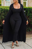 Black Fashion Casual Solid Cardigan O Neck Long Sleeve Two Pieces
