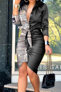 Black Gray Sexy Print Split Joint Buckle Fold Asymmetrical Turndown Collar Shirt Dress Dresses