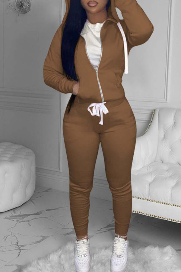 Brown Fashion Casual Solid Basic Hooded Collar Long Sleeve Two Pieces