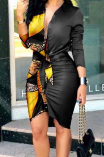 Yellow Sexy Print Split Joint Buckle Fold Asymmetrical Turndown Collar Shirt Dress Dresses