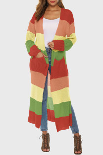 Orange Green Casual Striped Print Split Joint Slit Outerwear