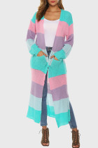 Powder Blue Casual Striped Print Split Joint Slit Outerwear