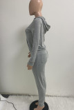 Black Fashion Casual Solid Basic Hooded Collar Long Sleeve Two Pieces