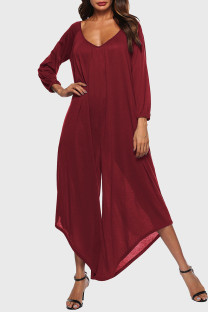Purplish Red Casual Solid Split Joint Asymmetrical V Neck Loose Jumpsuits