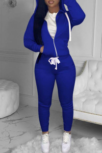 Blue Fashion Casual Solid Basic Hooded Collar Long Sleeve Two Pieces