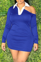 Blue Fashion Casual Solid Hollowed Out Split Joint Turndown Collar Long Sleeve Dresses