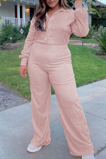 Light Pink Casual Solid Split Joint Buckle Turndown Collar Plus Size Jumpsuits