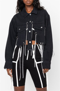 Black Fashion Casual Patchwork Chains Turndown Collar Long Sleeve Regular Denim Jacket