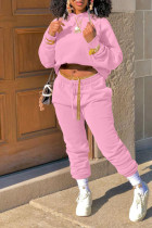 Pink Casual Solid Split Joint Hooded Collar Long Sleeve Two Pieces(Without Belt)
