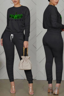 Black Casual Print Split Joint Fold O Neck Long Sleeve Two Pieces