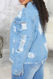 White Casual Solid Ripped Long Sleeve Straight Denim Jacket