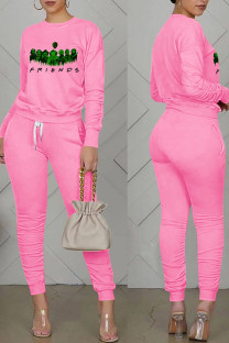 Pink Casual Print Split Joint Fold O Neck Long Sleeve Two Pieces