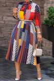 Multicolor Fashion Casual Print Basic O Neck Printed Dress (Without Belt)