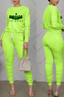 Fluorescent Green Casual Print Split Joint Fold O Neck Long Sleeve Two Pieces