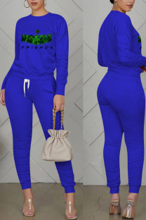 Royal Blue Casual Print Split Joint Fold O Neck Long Sleeve Two Pieces