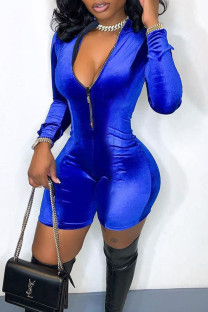 Blue Casual Solid Split Joint Zipper Collar Skinny Jumpsuits