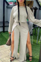 Grey Fashion Casual Solid Split Joint Slit O Neck Long Sleeve Two Pieces