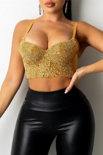 Gold Fashion Sexy Patchwork Hot Drilling Backless Spaghetti Strap Tops