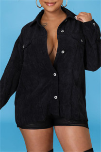 Black Fashion Casual Solid Split Joint Turndown Collar Outerwear