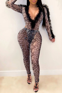 Grey Sexy Print Split Joint See-through Fold Mesh V Neck Long Sleeve Two Pieces
