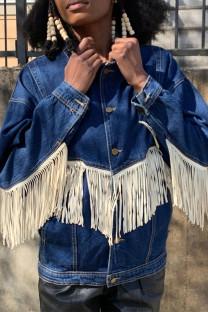 The cowboy blue Street Solid Tassel Split Joint Buckle Turndown Collar Plus Size Overcoat