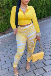 Yellow Sexy Print Split Joint Zipper Turndown Collar Long Sleeve Two Pieces