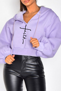 Purple Casual Embroidery Split Joint Hooded Collar Tops