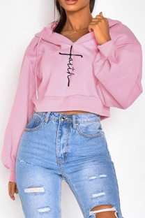Pink Casual Embroidery Split Joint Hooded Collar Tops