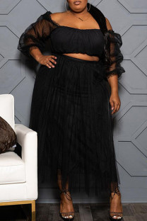 Black Sexy Solid Split Joint See-through Off the Shoulder Plus Size Two Pieces
