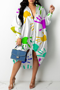 White Fashion Casual Print Basic Turndown Collar Long Sleeve Dresses