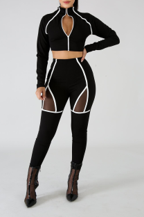 White Sexy Solid Hollowed Out Zipper Collar Long Sleeve Two Pieces