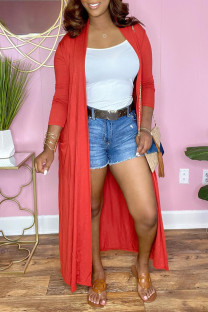 Tangerine Red Fashion Casual Solid Cardigan Outerwear