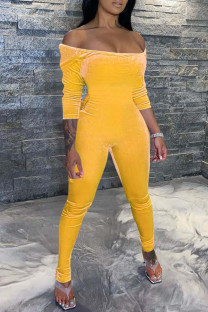 Yellow Sexy Casual Solid Backless Off the Shoulder Jumpsuits