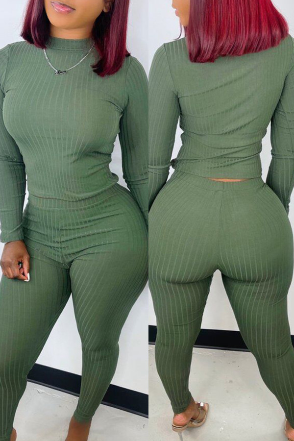 Green Fashion Casual Solid Basic O Neck Long Sleeve Two Pieces