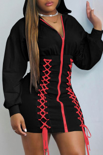 Black Fashion Casual Solid Bandage Split Joint Hooded Collar Long Sleeve Dresses