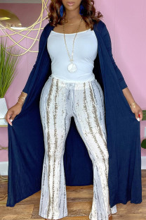 Blue Fashion Casual Solid Cardigan Outerwear