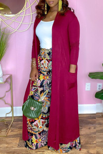 Rose Red Fashion Casual Solid Cardigan Outerwear